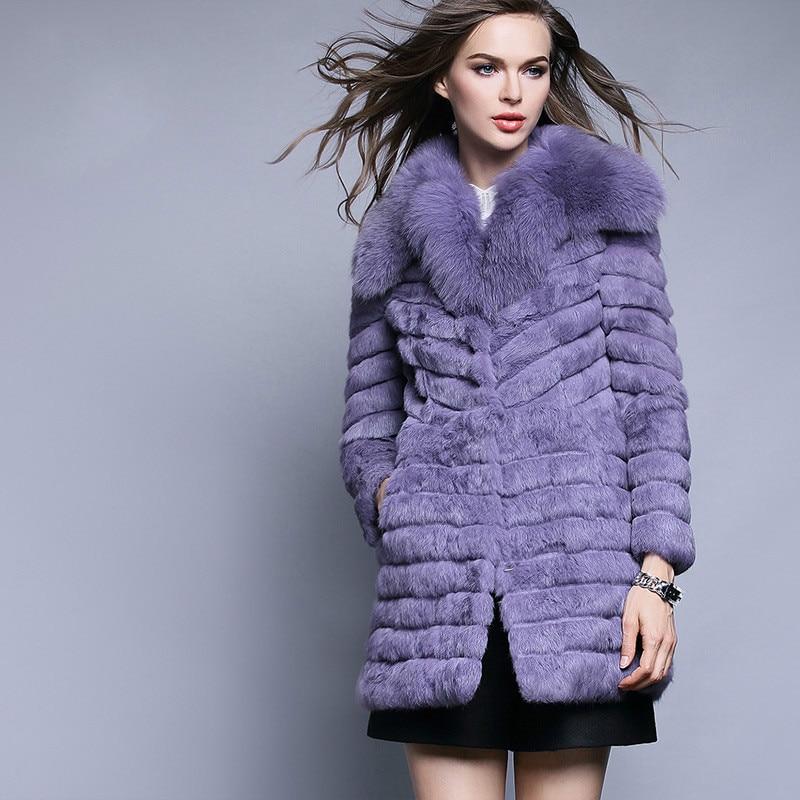 Femme Manteau Lapin pink Fourrure Véritable Cru Femelle White Coréen Renard purple Vêtements De Zt1257 2018 Automne Hiver Veste Femmes kPn0wO