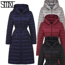 smxl Ultra keep Warm new down jackets Snow winter white duck down solid x-long Outerwear slim Belt female coats Parkas Hooded
