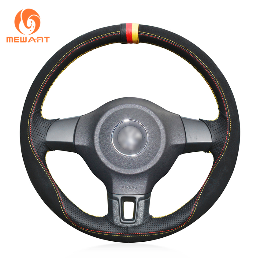 MEWANT Black Suede Black Genuine Leather Car Steering Wheel Cover for Volkswagen Golf 6 Mk6 VW Polo MK5 2010-2013 цена