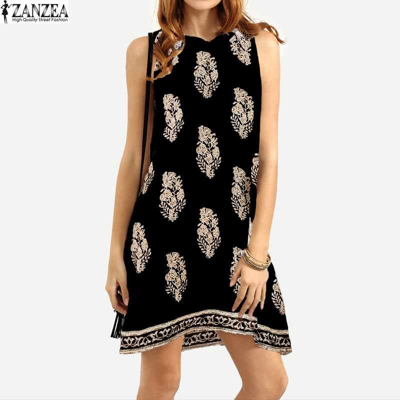 ZANZEA Plus Size Womens 2020 꽃 프린트 Sundress 민소매 레트로 비치 미니 드레스 Summer Vestidos