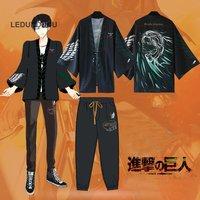 New Attack on Titan Chiffon Pajamas Cloaks Rivaille Cosplay Costumes Yukata Kimono Coat Shingeki No Kyojin Bathrobes Tops