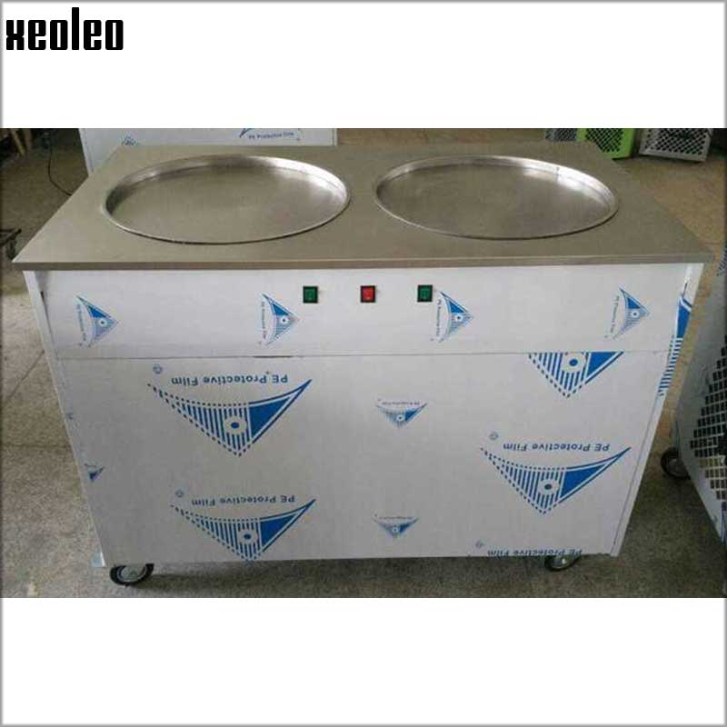 Xeoleo Double Pots Commercial Fried Ice Cream Machine Make Roll Ice Cream Ice Frying Machine Roll Ice Cream Maker Two Compressor double pressure ice frying machine double pan fried ice cream machine