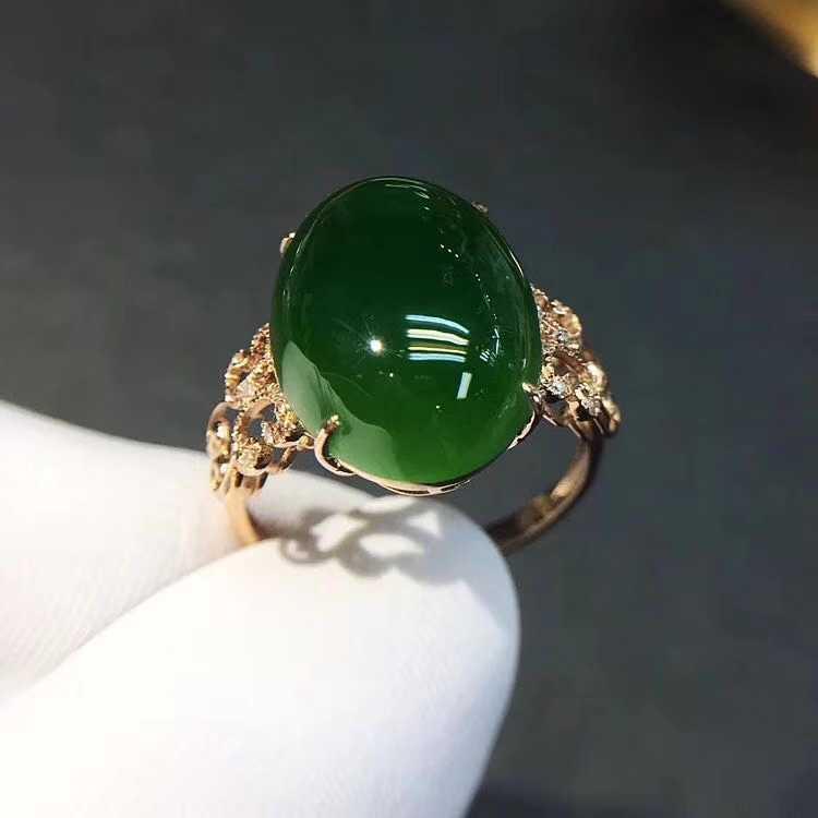 ผักโขมสีเขียวหยกแหวนเงินเครื่องประดับ