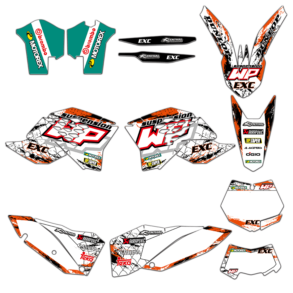 Motorcycle Full <font><b>Graphics</b></font> Decals Stickers Kits For <font><b>KTM</b></font> <font><b>EXC</b></font> 125 250 300 350 450 530 <font><b>2008</b></font> 2009 2010 2011 XCF <font><b>2008</b></font>-2010 image