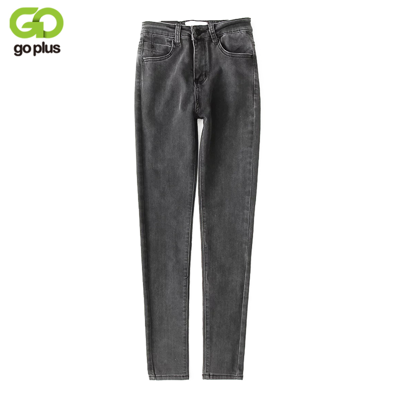 GOPLUS 2019 New Stretch High Waist   Jeans   Elastic Women Spring Autumn Slim Washed Denim Skinny Pencil Pants Femme C4858