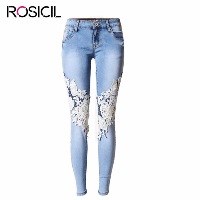 Women's Super Elastic Lace LvKong Denim Trousers Fashion Comfortable Feet Pants Ripped Jeans For Women Low Waist Pencil Pants hanlu europe and the united states women s super elastic lace lvkong denim trousers fashion comfortable feet pants