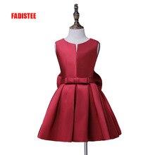 Fadistee горячая Распродажа для девочек в цветочек причастие платье A-Line атласные платья с милым бантом трапециевидной формы для девочек платье