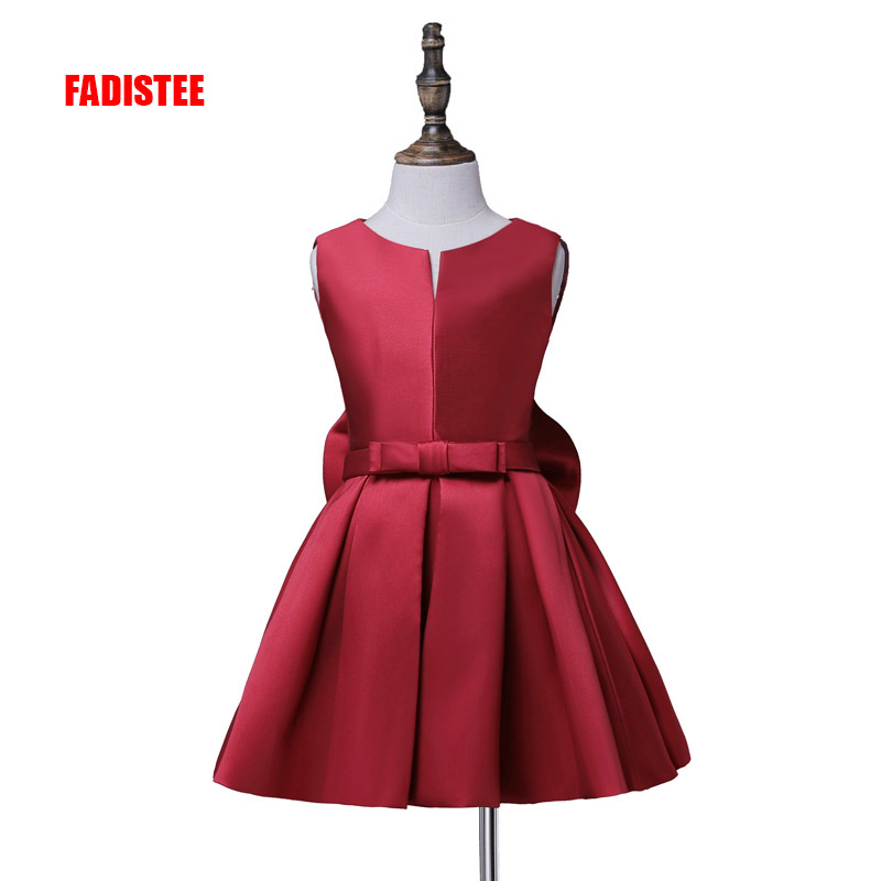 FADISTEE Hot Sale Flower Girl Communion Dress A-line Satin Dresses Cute Bow A-line Girl Dress