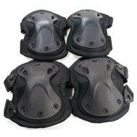 Nueva Protección Paintball Táctico SWAT Rodilleras Coderas 4 unids/set X Protección de estilo Ajustable Militar Rodilleras Codo