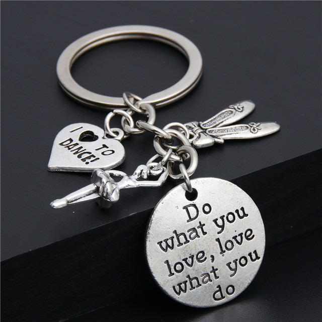 1pc Do What You Love Charms I Love To Dance Key Chain Ballerina Keyring Ballet Gifts For Women Girl Dancer Jewelry  E2035
