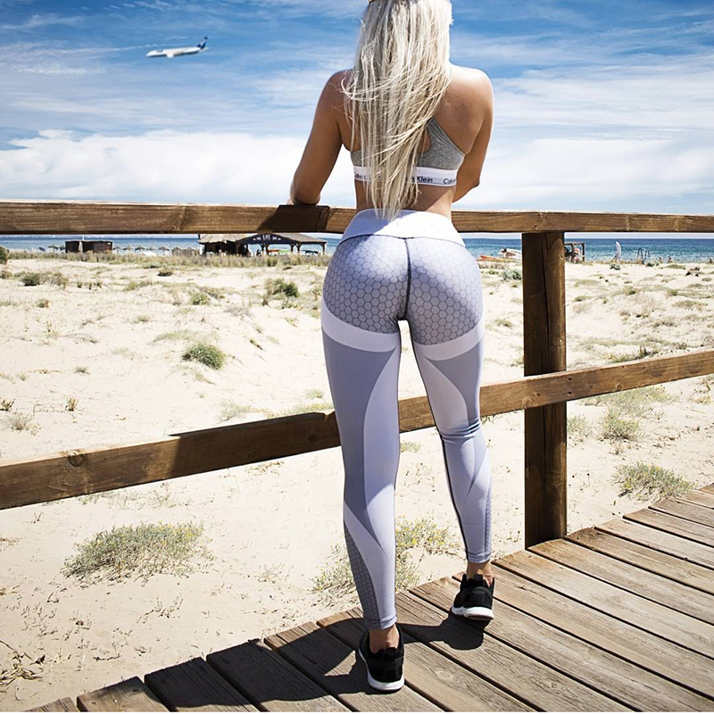 Yoga Pants Honeycomb Carbon Leggings Women Fitness Wear Workout Sports Running Leggings Push Up Gym Elastic Slim Pants 5