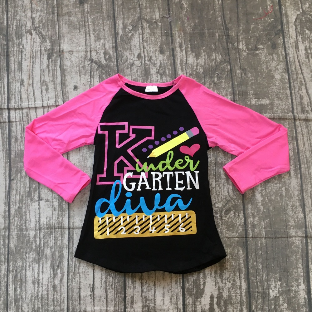 Garten Kinder Us 6 99 Aliexpress Buy Fall Long Sleeve Baby Girls Boutique Kinder Garten Diva Hot Pink Black Top Shirts Boutique Clothing Back To School