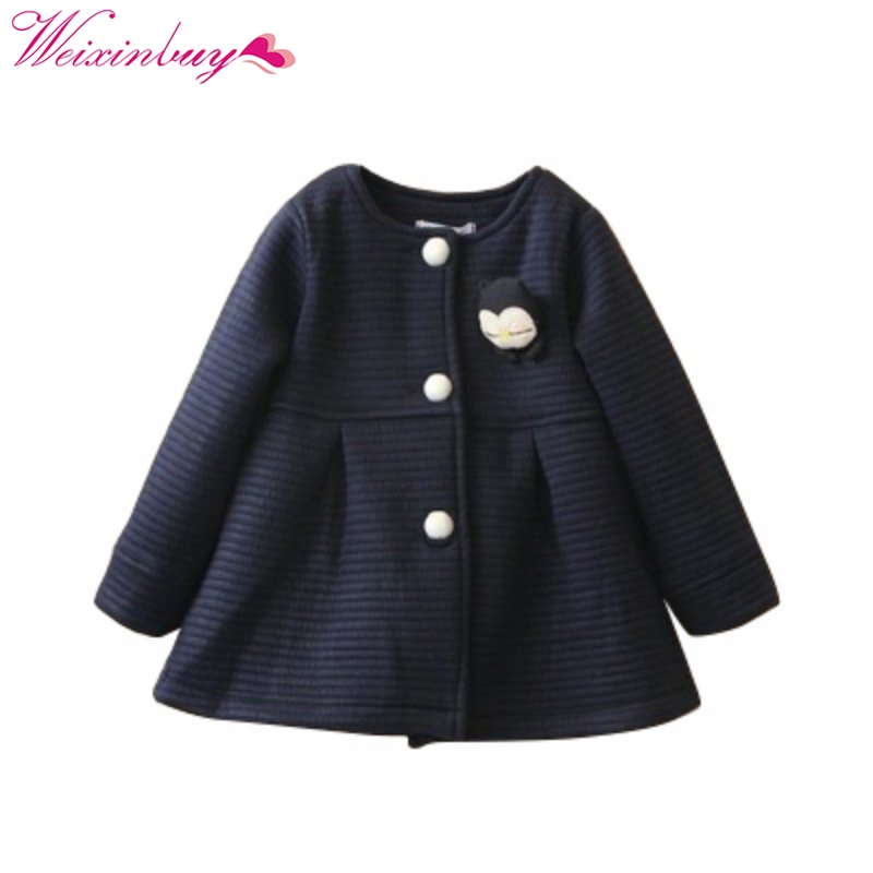 Genteel 2017 Autum Winter Girls Sweet Coat Baby Bow Knot Outwear Single Breasted Child Jacket For Girls