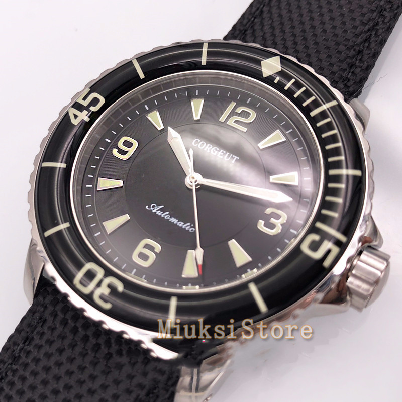 Corgeut 45mm watches black dial Luminous hands Automatic Self Wind Vintage mens watch