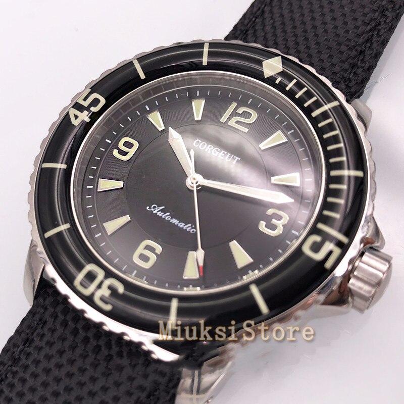 Corgeut 45mm montres cadran noir aiguilles lumineuses automatique auto vent Vintage hommes montre-in Montres mécaniques from Montres    1