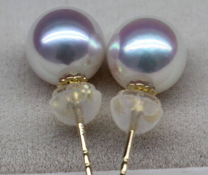 charming AAA round 12mm south sea white stud pearl earring>jewerly free shipping