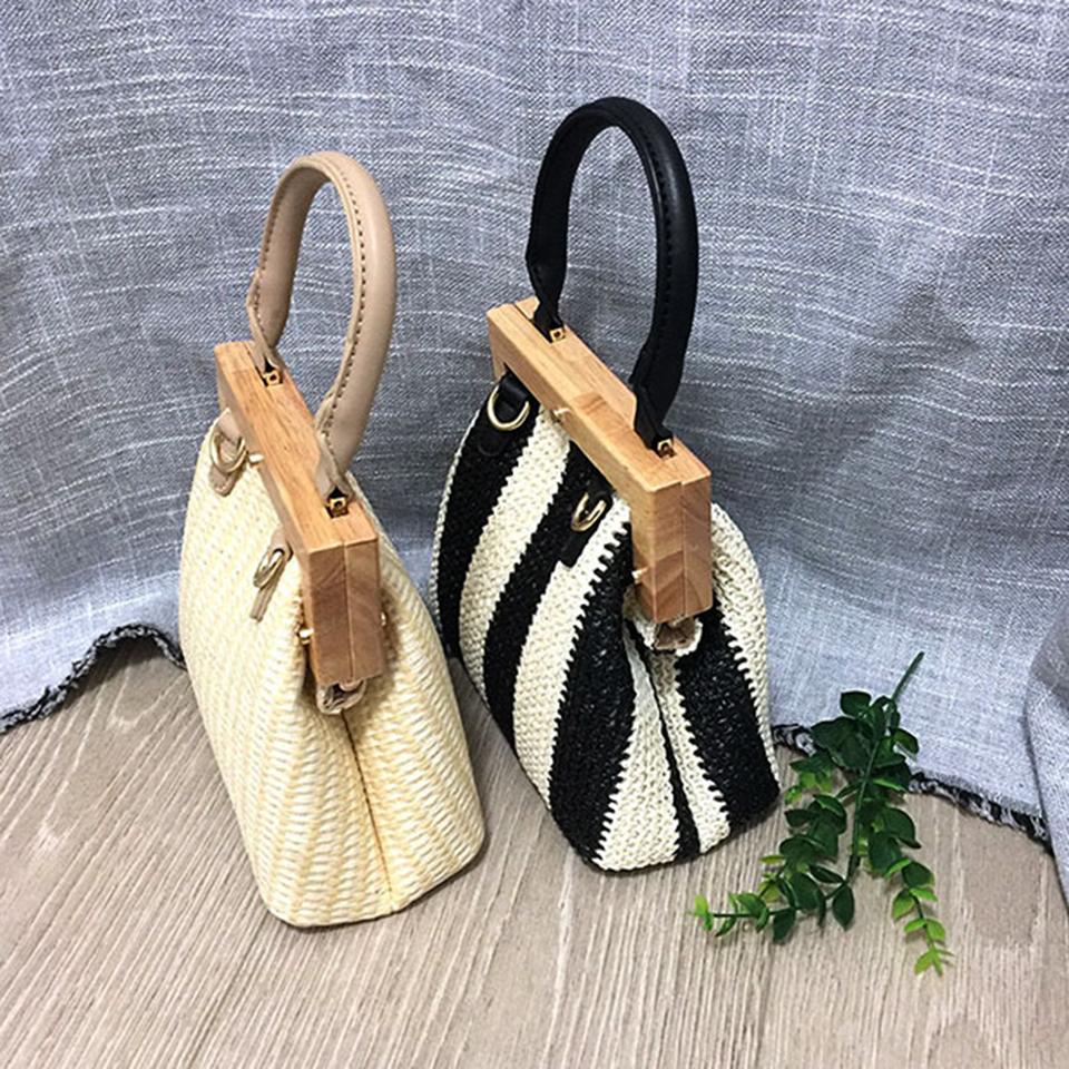 Oswego Straw Bag 2019 New Fashion Wooden Clip Women Shoulder Bag Summer Travel Beach Bag Luxury Handbags Women Bags Designer 10