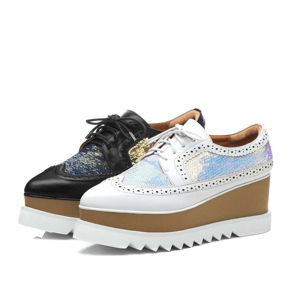 Lenksien в сдержанном стиле туфли на танкетке; обувь на платформе; обувь из кусочков кожи с острым носком на шнуровке женские туфли лодочки из натуральной кожи в стиле «панк», повседневная обувь для свидания, L18 - 6