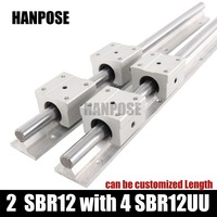 Free Shipping 2 Pcs Linear Guide SBR12 L Linear Rail Shaft Support And 4 Pcs SBR12UU