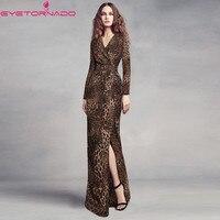 Women sexy deep V neck leopard long party dress summer split bodycon bandage vestido formal party floor length dresses E6094