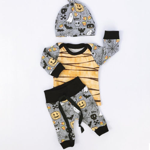 3PCS Newborn Baby Boys Girls Long Sleeve Cotton Hooded Rompers Long Pants Jumpsuit Outfit Clothes