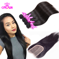 Malaysian Virgin Hair With Closure 3PCS Malaysian Straight Hair With 1PC Closure Free Middle Part 100% Human Hair With Closure
