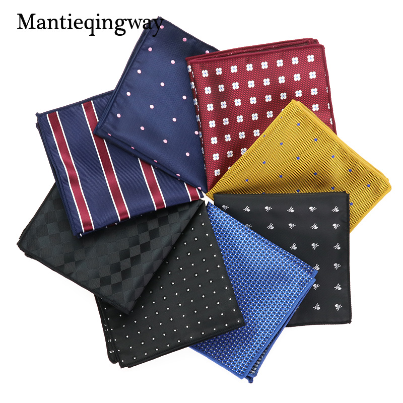 Mantieqingway Polka Dots Striped Handkerchief Wedding Polyester Printed Hanky Men's Fashion Business Pocket Square Towel 23*23CM