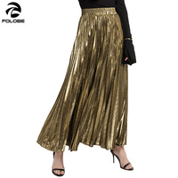 2019 Fashion Metal Color Gold Silver Shiny Skirt Punk Women Elastic High Waist Pleated Skirt Female Night Club Party Style