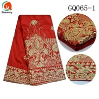 Embroidered African George 5yards Pc Sequince Raw Silk George 2colors Lady Women Dress Fabric India George