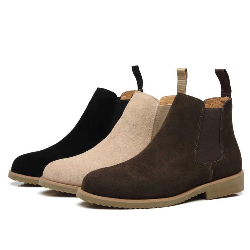 Erkek moda açık yarım çizmeler İlkbahar sonbahar chelsea çizme nefes inek süet deri ayakkabı şort patik hombre botas erkek