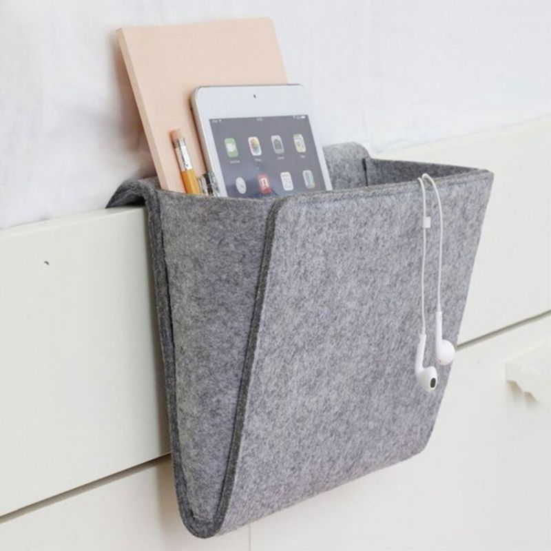 Felt Bedside Pocket Bed Organizer Storage Phone Book Remote Case Holder Bag