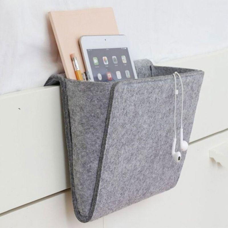 Felt Bedside Pocket Bed Organizer Storage Phone Book Remote Case Holder Bag