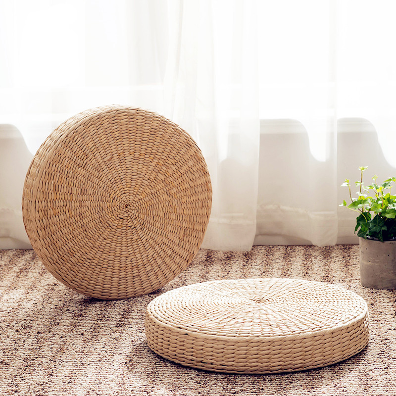 Free Shipping Gr Rattan Weaving Play Mat Anese Tatami Window Seat Cushion Futon Thickening Meditation In From Home Garden On