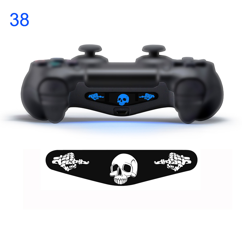 2 pezzi # 38 skull e middle finge PVC Decal Skin Custom per Playstation 4 LED Light Bar Decal Sticker per controller PS4