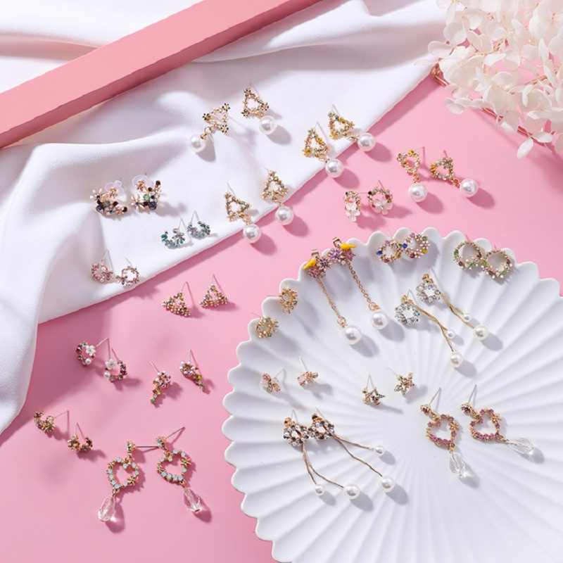 MINGQI Korea Cute Fashion Wreath Flower Heart Shape Earrings Alloy Long Pendant Colored Petals Shell Stars Women Earring Jewelry