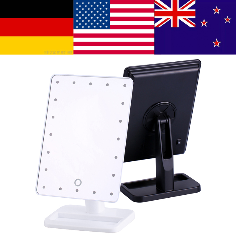 20 LED Touch Screen Illuminated Makeup Stand Mirror Desktop Lighted Cosmetic Mirrors bathroom shower mirror vergroot spiegel