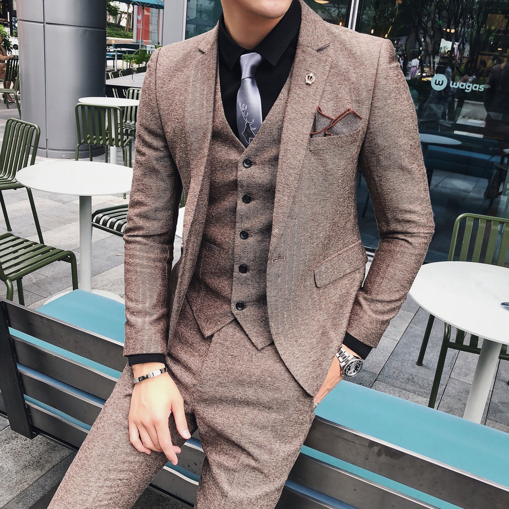 Tweed Men Suits for Wedding Groom Tuxedos Prom Dinner Notched Lapel Three Piece Blazer Waistcoat Pants Latest Style Jacket Vest in Suits from Men 39 s Clothing