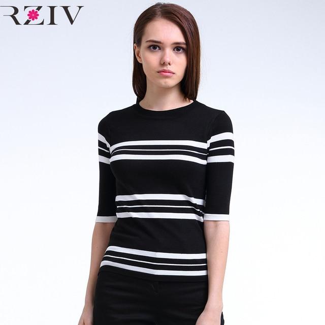 RZIV stripe tops 2016 summer tshirt korean fashion clothing slim striped women tops knit shirt