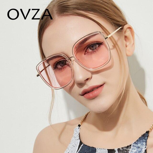 fcb2ae79261 OVZA Female Sunglasses Fashion Big Sunglasses Women Transparent Frames Sung  Glasses Square Pink UV400 gafas de sol mujer S1039