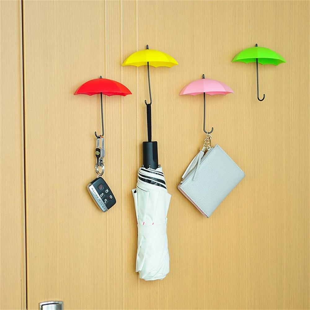 Random Color 6Pcs Colorful Umbrella Type Wall Hook For Key Hair Pin ...