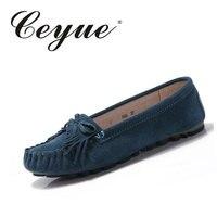 Ceyue 2017 Summer Women Flats Woman Loafers Shoe Female Lazy Flat Heel Casual Tassels Shoes Leather