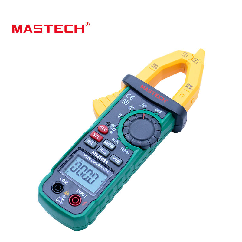 Mastech Auto Range Digital AC DC Clamp Meter  600A Multimeter Volt Amp Ohm HZ Temp Capacitance Tester NCV Test MS2109A  vc6056d digital ac dc clamp meter 600a refrigerant special