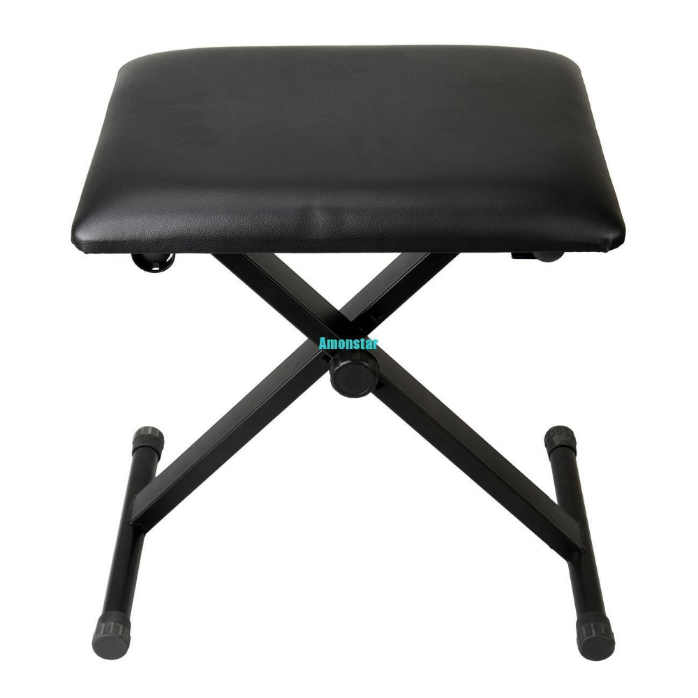 Amonstar Adjustable Height Black Piano Stool Keyboard Bench Padded Seat Cushion Chair