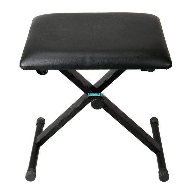 (Ship From Germany) Amonstar Adjustable Height Black Piano Stool Keyboard  Bench Padded Seat Cushion