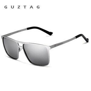 Image 3 - Guztagサングラスステンレス鋼の正方形男性/女性偏光ミラーUV400サングラス男性oculos G8029