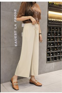 Image 3 - נשים קיץ דק לסרוג מכנסיים שחור רחב רגל Loose מכנסיים קרסול אורך מכנסיים מזדמנים מכנסיים מותניים אלסטי בתוספת גודל מכנסיים S 4XL