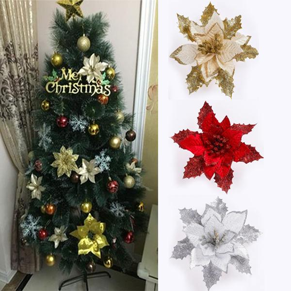 aliexpresscom buy 17cm diamonds diy christmas flower pendants xmas holiday party home decor ornament christmas tree decorations flowers from reliable
