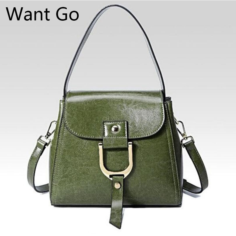 Want Go Classic Women Genuine Leather Shoulder Bag Solid Color Lady Crossbody Bag Fashion Girls Leather Messenger Bag Handbags fashion women handbags genuine leather shoulder bag solid multi color female handbag with free shipping