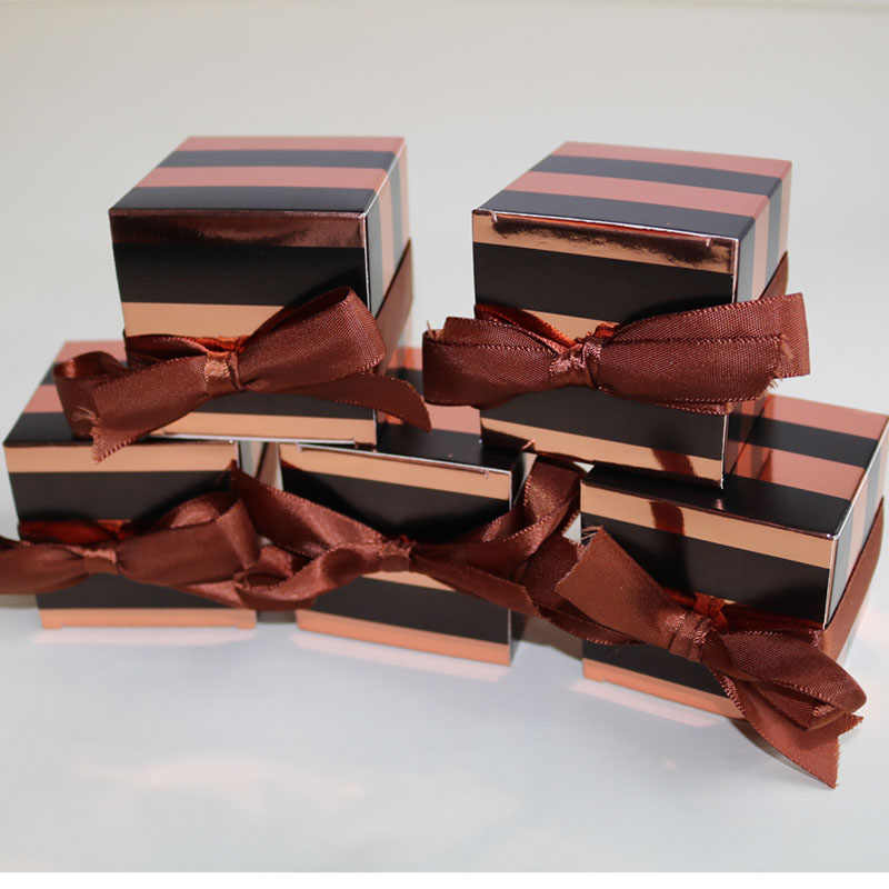 Rose Gold Striped Gift Box Packaging Square Cardboard Box Cake Box for Wedding Birthday Party Home decorations