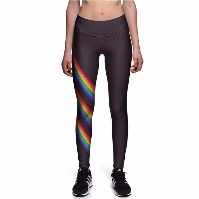 NEW 0087 Sexy Girl Black Diagonal stripes Rainbow Prints Slim High Waist Workout Fitness Women Leggings Pants Trousers Plus Size